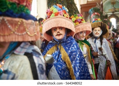Diriamba, Nicaragua - January 4, 2017:people in big colorful mask dancing national dance in Nicaragua