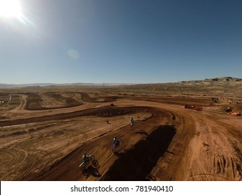 Dirt bike track taking jump