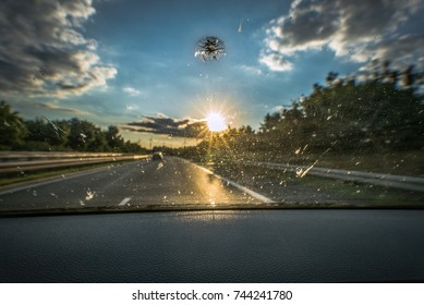 Dirt on the windshield of a vehicle, a stone chase and backlight lead to poor visibility and increase the risk of accidents