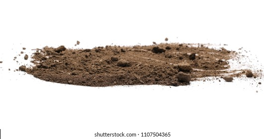Dirt pile isolated on white background, with clipping path, side view