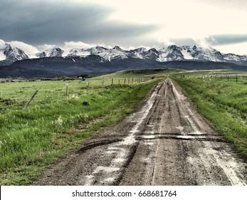 Dirt road to the Bridger Mountain Range, Montana