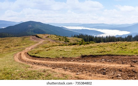 Dirt road in the Carpathian mountains. Ukraine.