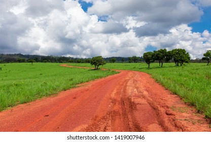 A dirt road in the field in mountains and forest with cloudy blue sky background in Thung Salaeng Luang National Park Phetchabun, Thailand.