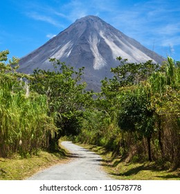 A dirt road leading to the active side of Arenal Volcano, Costa Rica.