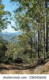 A dirt road leads a four wheel drive down a mountain in Goodnight Scrub National Park in Queensland, Australia.