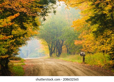 Dirt road and mailbox during fall foliage, Stowe Vermont, USA