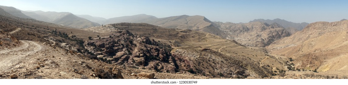 Dirt road in mountain area near Shobak, Jordan