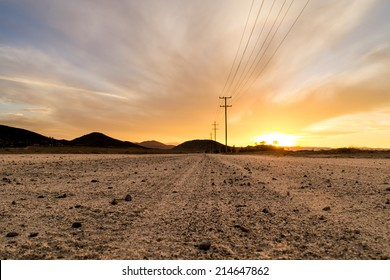 The dirt road on a beautiful Southern California sunset.