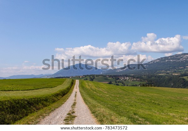 Dirt Road path to Mountain in France