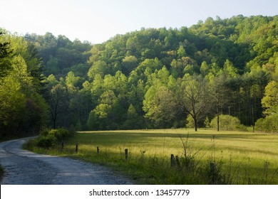 A dirt road in a rural setting, early in the morning, as the sun rises above field and trees.