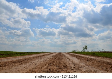 dirt road in Russia a clear sunny morning