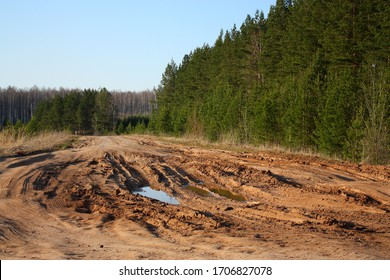 dirt road in Russia in spring