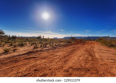 Dirt road through Arizona desert just outside Scottsdale