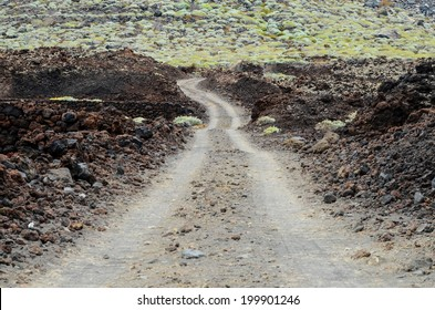 Dirt Road through the Desert in Tenerife Island Spain