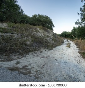 Dirt road through forest against sky, Crete, Greece