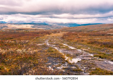 Dirt road trail in a barren moorland valley in Scotland, UK