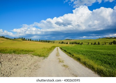 dirt roads and hills with cypresses and white clouds in the small town Asciano Crete in the province of Siena in Tuscany famous for the production of sheep cheese