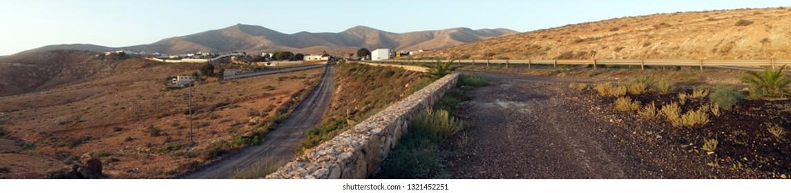 Dirt roads on the Fuerteventuira island, Spain