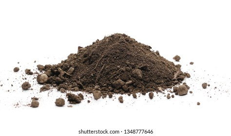 Dirt, soil isolated on white background