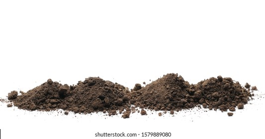 Dirt, soil pile isolated on white background