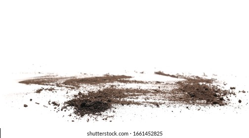 Dirt, soil pile isolated on white background, side view