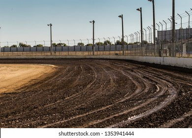 Dirt track racing circuit before a race session.