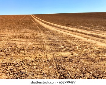 Dirt tracks across a tilled Oregon field lead up to the sky, brown dirt horizon against blue sky.