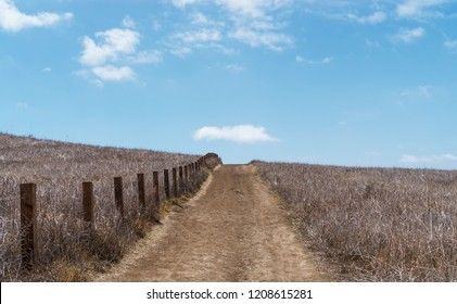 Dirt uphill hiking path through dry brush. Wooden fence boundary. Wispy white clouds and blue sky. Copy space.