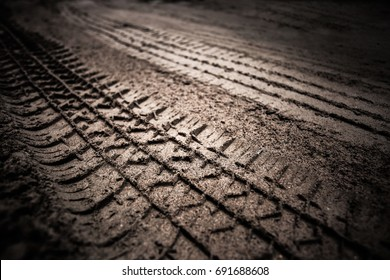 dirt wheel track on earth