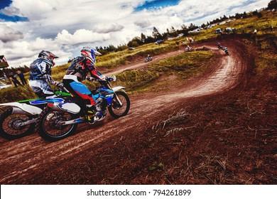 Dirtbike. Athlete bikers is go motocross. Concept active rest moto extreme dirt bike.