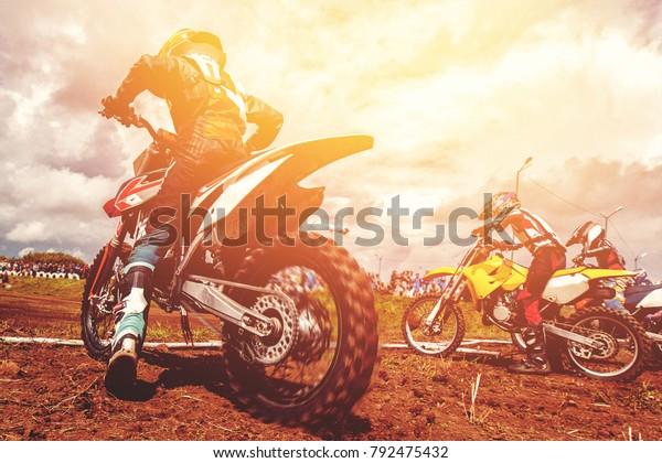 Dirtbike Dirt Bike Bikers Start Motocross Stock Photo (Edit