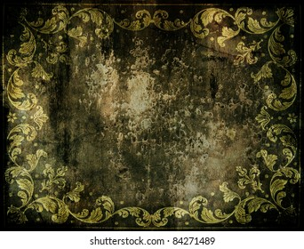 dirty abstract background with floral decorations