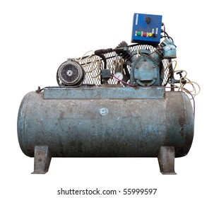 A dirty air compressor, isolated over white. Clipping path is included.