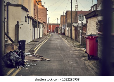 dirty alley in city