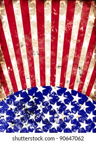 dirty american flag for a background