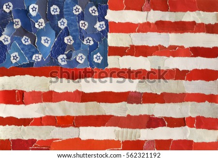 Dirty American Flag Collage Mood Board Stock Photo (Edit Now
