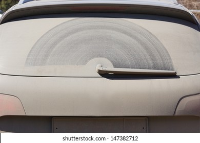 Dirty back glass of the car