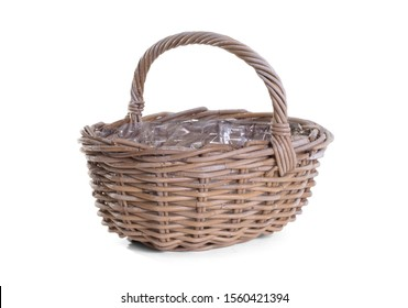 Dirty basket on a white background, isolated