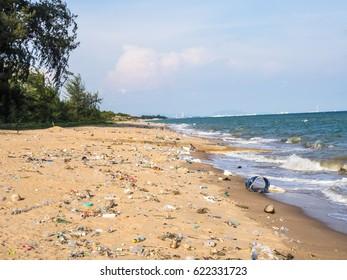Dirty beach with trash and marine debris.