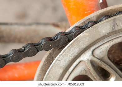 Dirty bicycle chain.