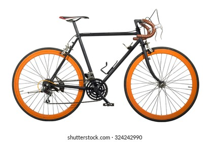 Dirty bicycle cut for white isolated with copy space.