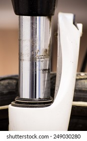 Dirty bicycle suspension fork