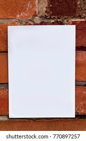 Dirty blank paper card pasted on a brick wall