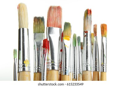 Dirty brushes for drawing isolated on white background