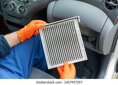 Dirty cabin pollen air filter for a car
