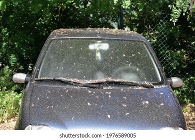 Dirty car abandoned in a public place