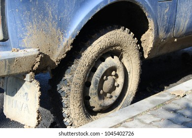 dirty car wheel