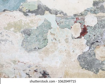 Dirty cement crack and peeling wall  background