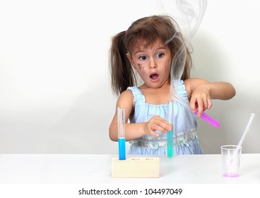 dirty child making unsuccessful chemical experiment