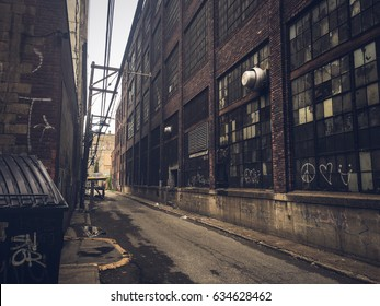 Dirty city alley.